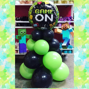 game on balloon table topper